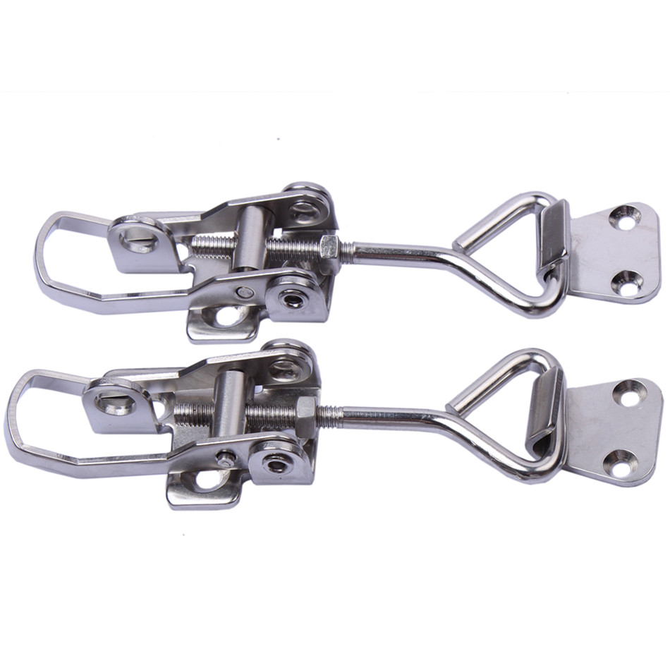 2 Pieces Big Size Boat Marine Adjustable Stainless Steel Lockable Hasp / Hold Down / Hatch Clamp