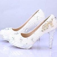 Rhinestone Popular Bridal Dress Shoes Silver Crystal Heel Ladies High Heel Handmade Fashion White Pearl Wedding