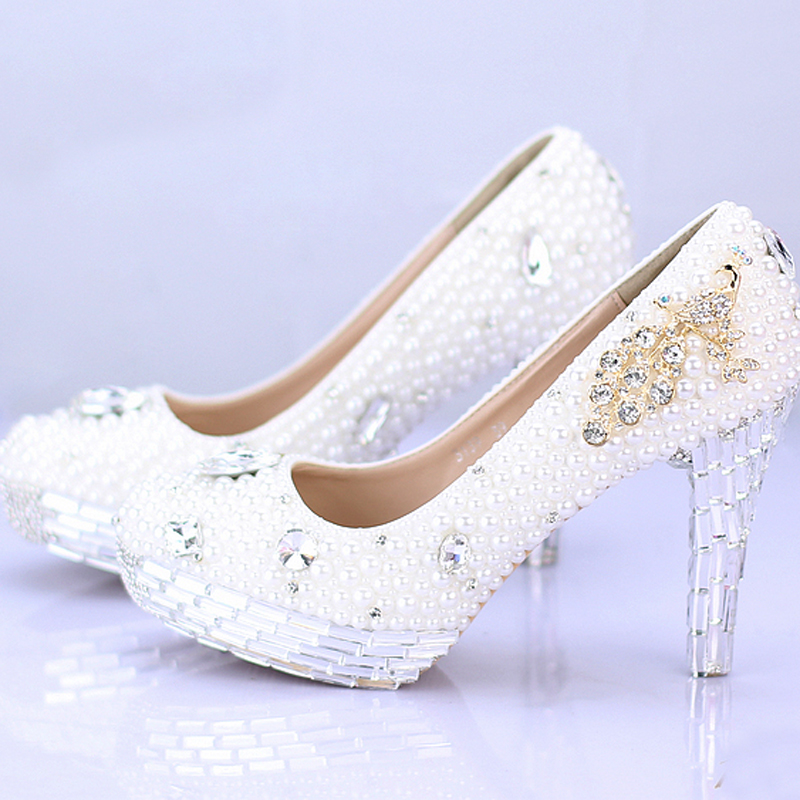 Rhinestone Popular Bridal Dress Shoes Silver Crystal Heel Ladies High Heel Handmade Fashion White Pearl Wedding Shoes аксессуар кабель apple thunderbolt cable 2 0m md861zm a page 5