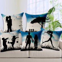 Art couple silhouette love accompanied by life home office Decor Cushion Cover Printed Wedding gift Car Decorative Pillow Case