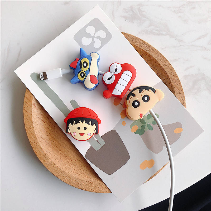 Cable bite protector Mobile Phone Connector Accessory Charger Wire Winder Organizer Doll Model Crayon Shinchan Chibi Maruko