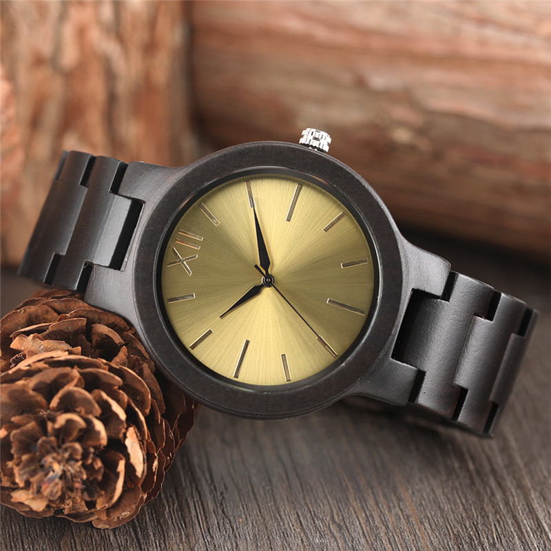 Creative Ebony Wood Watches Men Quartz Wristwatch 2019 New Arrival Women Full Wooden Bamboo Bangle Sport Watch Smooth Dial Clock in Quartz Watches from Watches