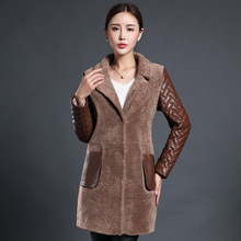 Winter Female models Wool one Leather fur In the long section lambswool jacket