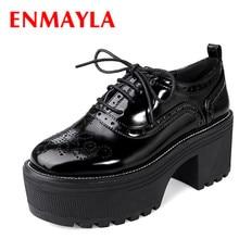 Купить с кэшбэком ENMAYLAHarajuku Style Classic Black Lace-up Brogue Shoes Women High Heels Thick Platform Oxford Shoes Woman Chunky Heels Boots