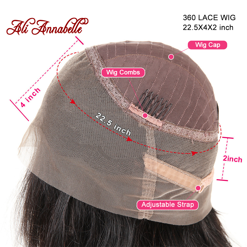 Ali Annabelle 360 Lace Front Human Hair Wigs Pre Plucked Hairline Malaysian Straight Lace Frontal Wigs with Baby Hair Full Ends