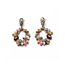 ORNAPEADIA Brand High Quality Fashion Jewelry Elegance Vintage Royal style Color Crystal Stud Earrings For Women
