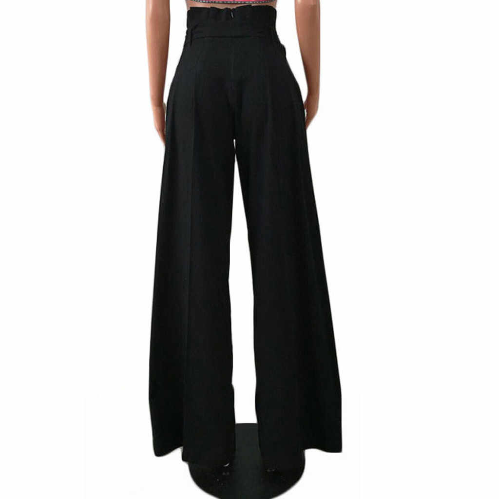 Plus Size 2019 Women Fashion Solid Loose Wide Leg Pants Solid Ankle-Length Feminina High Waist Casual Pants Women Trousers