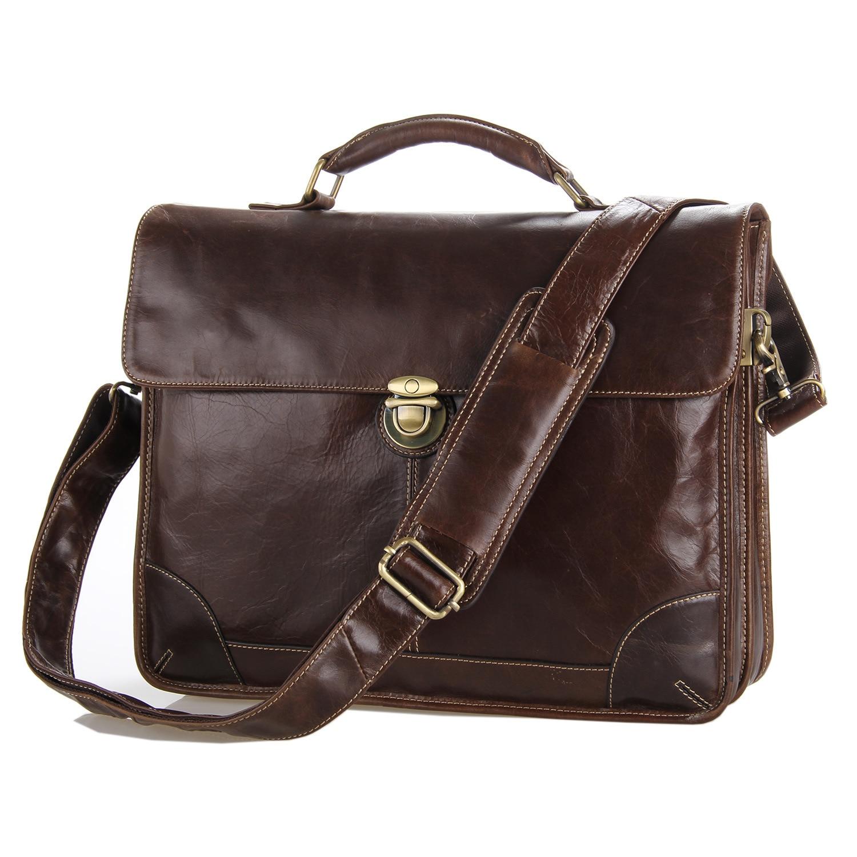 Oil Waxy Leather Antique Design Business Men Leather Briefe Case Laptop Document Case  Attache Messenger Bag Tote Portfolio