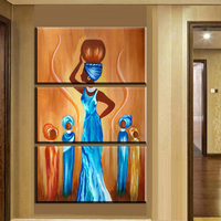 Xh2266 3pcs Abstract African Woman Oil Paintings Modern Home Decor Living Room Wall Art Pictures Figure