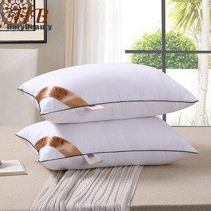 Image 1 - Oreiller élastique de qualité supérieure, 2 pièces, oreiller blanc à lintérieur du cou, soins de santé, oreiller à mémoire pour le lit