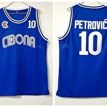 Ediwallen Drazen Petrovic Jersey 10 Vintage College Baksetball Cibona  Zagreb Jerseys Sports Stitching Color Blue Breathable 7e89f2572