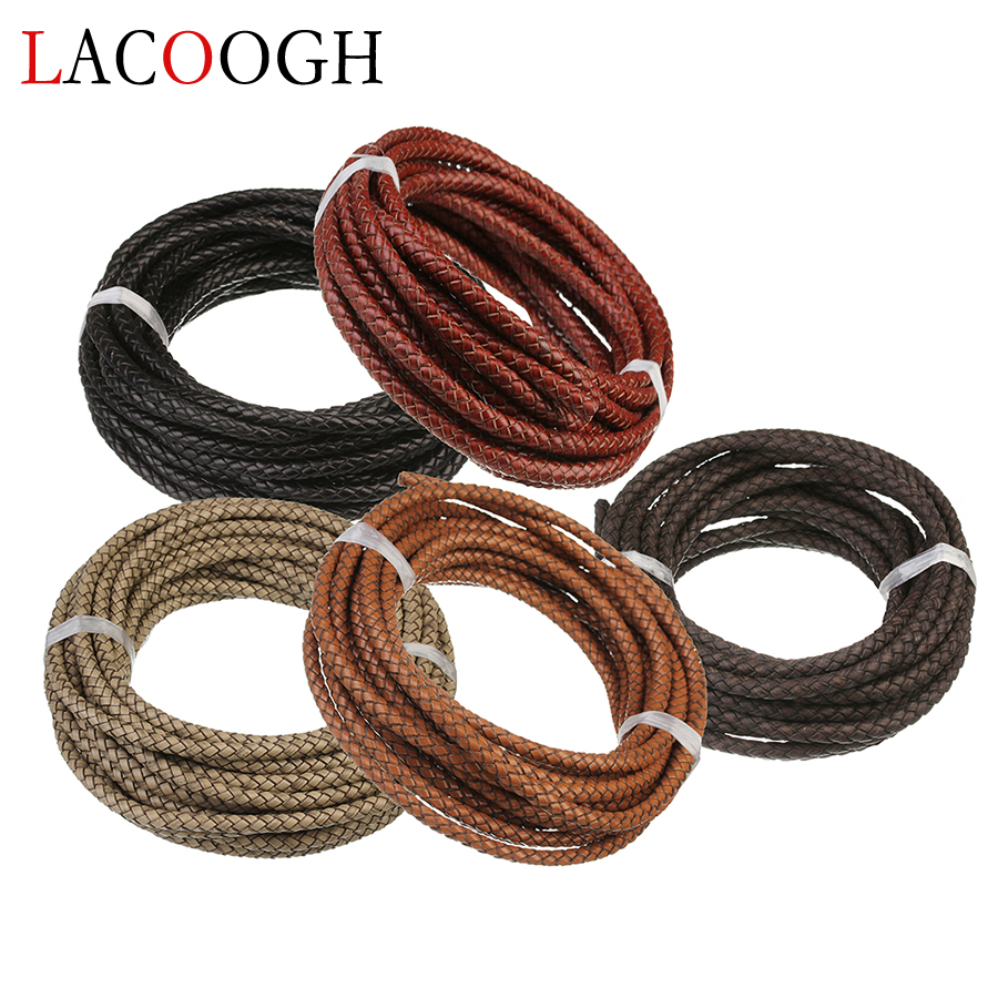 1Meter Round Braided 6mm Width Brown Beige Genuine Leather Cord Thread String 6mm For DIY Men Women Bracelet & Necklace Findings