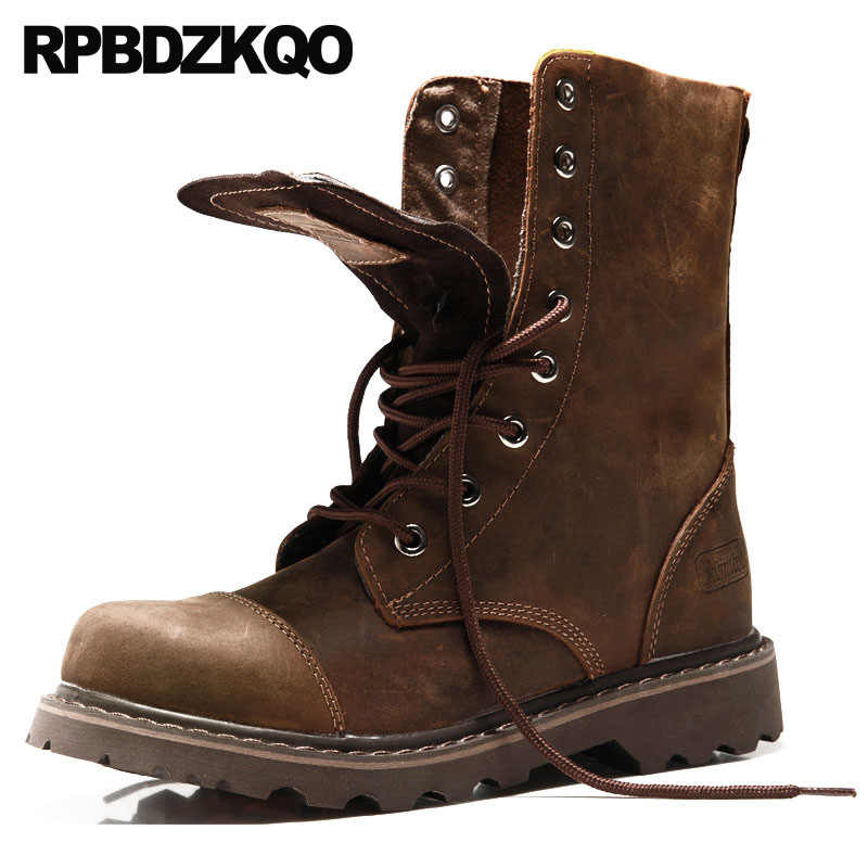 0d851a9833 Chunky Combat Full Grain Leather Boots 2018 High Quality Men Mid Calf Lace  Up Military Footwear