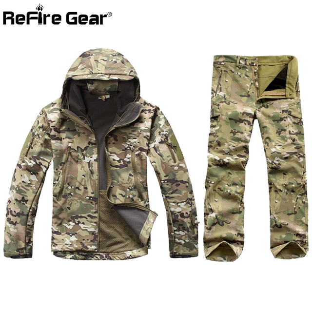 9e6b51aa23db9 Tactical Soft Shell Camouflage Jacket Set Men Army Waterproof Warm Camo  Clothes Military Fleece Coat Windbreaker Clothing Suit