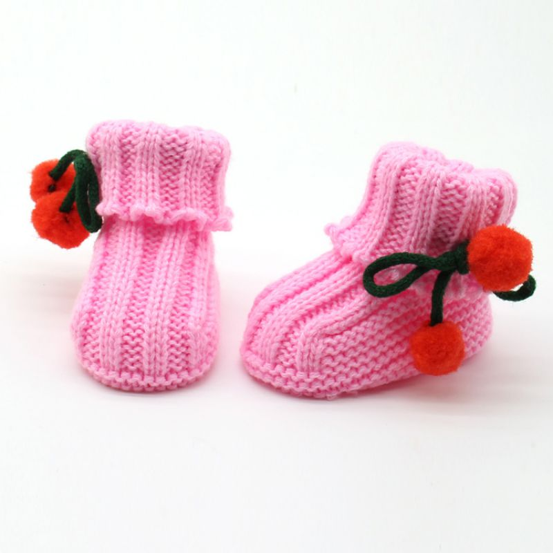 Hot Cute Newborn Baby Winter Warm Boots Soft Sole Ankle Shoes 0-6M Handmade Infant Knitted Socks Boots 2017