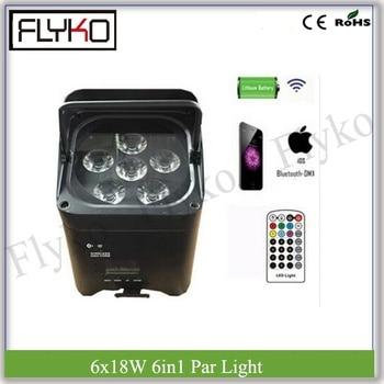 Pilot zdalnego sterowania 6x18 W RGBWA UV 6IN1 bezprzewodowy wyświetlacz LCD lampa PAR zasilany z baterii światła etapie