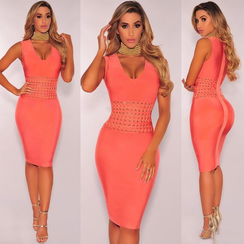 New Style Peach Color Ladies HL Bandage Dress V-Neck Bodycon Knee Length Dress Party Dress