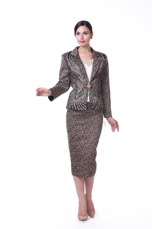 Kueeni Women Church Suits 3pcs Jacket Vest Skirt Elegant Lady