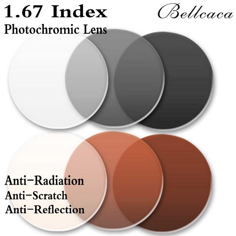 1.67 Index Aspheric Ultra thin Optical Photochromic Prescription Lens Myopia Lens Glasses Anti-Radiation Reflection 2 PCS BC007