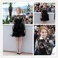 Cd06 сексуальный эмма камень короткое черное кружево платье знаменитости каннский 2015 три четверти рукав вечерние платья вечерние платья