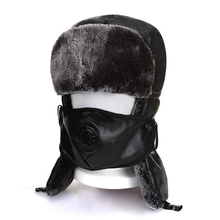 unisex bomber hat winter fur earflap brown caps ushanka hats cap Ear helmet for mens and women pu leather