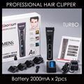 Pelo profesional eléctrico clipper trimmer para peluquería slaon lámina de cerámica máquina de corte de pelo 2 pcs 2000ma batería conjunto