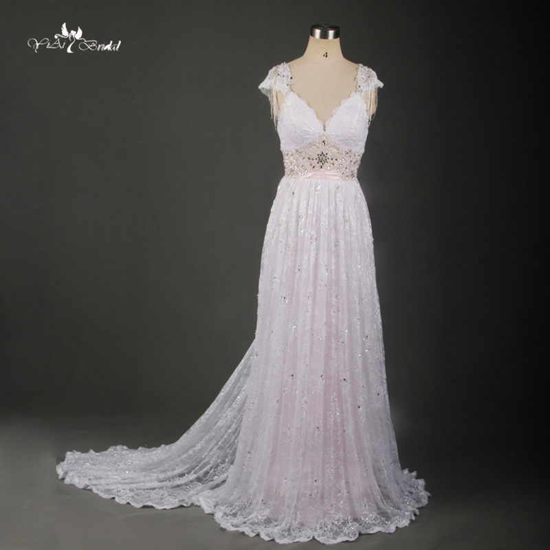 Tw0171 blush pink simple removable train beach wedding for Simple pink wedding dress