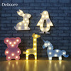 DELICORE 11 Led High Rabbit 3D Unicorn Bear Marquee Night Light LED Battery Nightlight Desk Night