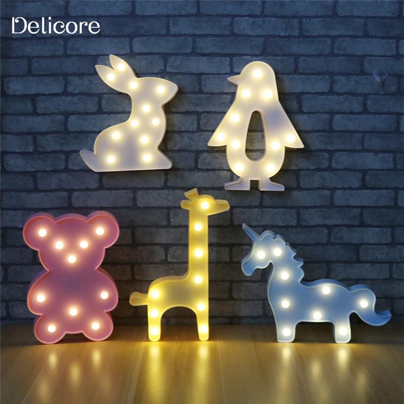 DELICORE 3D Animale Night Lights Unicorno Orso Marquee LED Nightlight Batteria Desk Lamp Notte Per I Bambini Del Bambino Camera Da Letto Decorazione M05