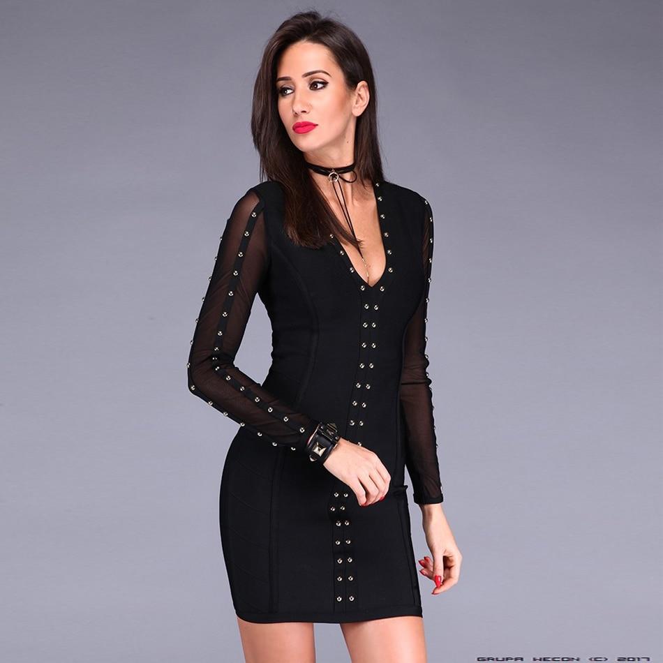 CIEMIILI 2019 New Women Sexy Club Summer Dress V neck Long Sleeve Strap Black White Bodycon
