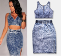 New fashion denim women 2 Piece Set Vestidos Sexy Club Casaul Bodycon Party dress outfit crop top for ladies feminino woman