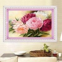 DIY 5D Diamond Painting Cross Stitch Peony Flowers Round Diamonds Embroidery Kits Diamond Mosaic Home Decoration