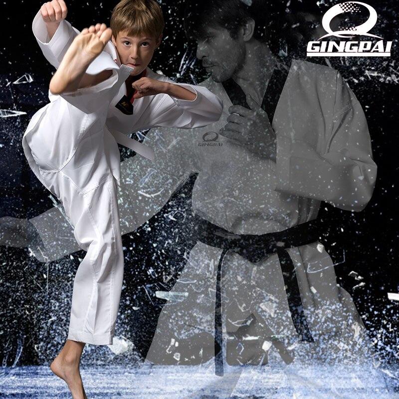 Hot sale Taekwondo Uniform Traditional white suite for kids adult student Tae kwon do dobok WTF approve Black V-Neck Uniforms martial arts tkd tae kwon do korea v neck adult taekwondo master uniform for poomsae