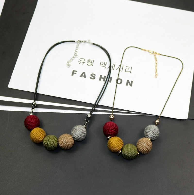 Новинка, разноцветное женское ожерелье, геометрический большой шар, ожерелье с подвеской, короткий свитер, змея и веревка, цепочка, модные аксессуары, ювелирные изделия