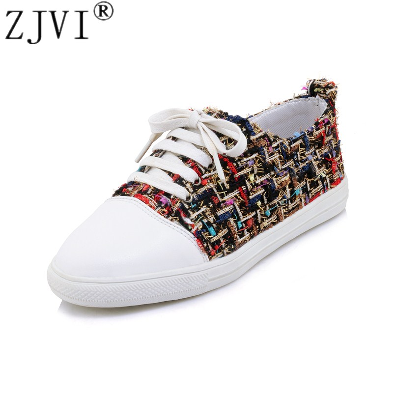 ZJVI Women fashion canvas Flat Shoes 2018 new Summer autumn Woman lace up Casual Ladies beige red round toe Flats female sneaker 2017 summer new fashion sexy lace ladies flats shoes womens pointed toe shallow flats shoes black slip on casual loafers t033109