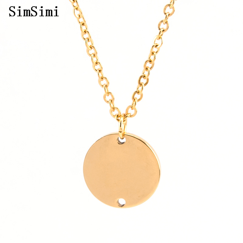 Pendant Necklace 2 loop holes 15mm with Chain Double Mirror Polished Stainless  Steel Fashion Jewelry for Women Wholesale 50pcs-in Pendant Necklaces from  ... 0821b06988d3