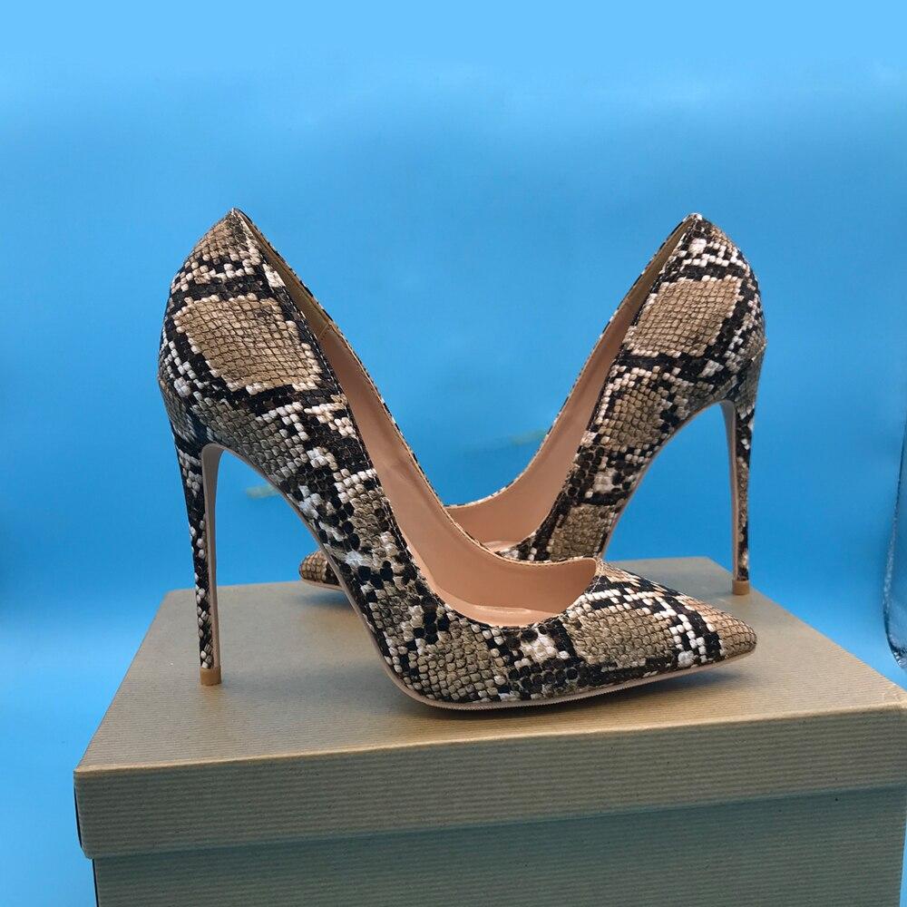 Luxus Schlange Haut Druck Frauen High Heels 12 cm Python Muster Spitz Kleid Schuhe-in Damenpumps aus Schuhe bei  Gruppe 3