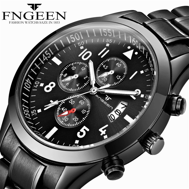 FNGEEN Brand Men Watch Fashion Quartz Wrist Watch Black Band Stainless Steel Calendar Clock Man Business Hour Montre pour homme paidu fashion men wrist watch casual round dial analog quartz watch roman number faux leatherl band trendy business clock