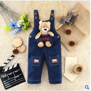 Solo 2016 Nueva Primavera Otoño Niño Niña babero General Jumpsuit Jeans Niños Jean Pantalones Ropa Pantalones del Babero del Desgaste Del Bebé