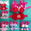 2015 New infant flower baby shoes;fabric baby booties;toddler shoes;sapatinho de bebe menina ,baby shoes headband set