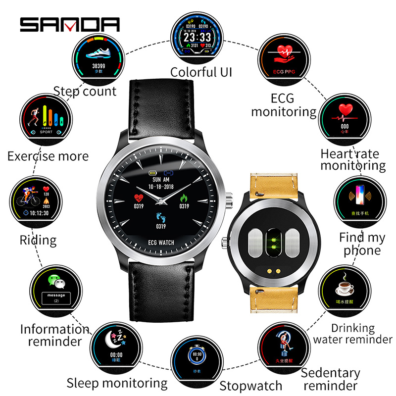 SANDA N58 New Men ECG Smart Digital Wristwatches Female Smart Medication Reminder Heart Rate Watches Calorie Step Wristwatch