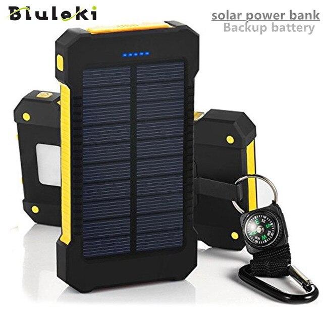 Оригинал Bluleki Power Bank Powerbank Внешняя Батарея Портативный Резервная Зарядки Dual USB solar power bank для Мобильного iPhone