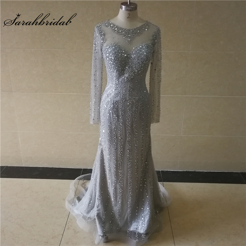 Real Photos New Arrivals Long Luxury Mermaid   Evening     Dresses   Actual Image Beading Prom Gowns Robe De Soiree WT040