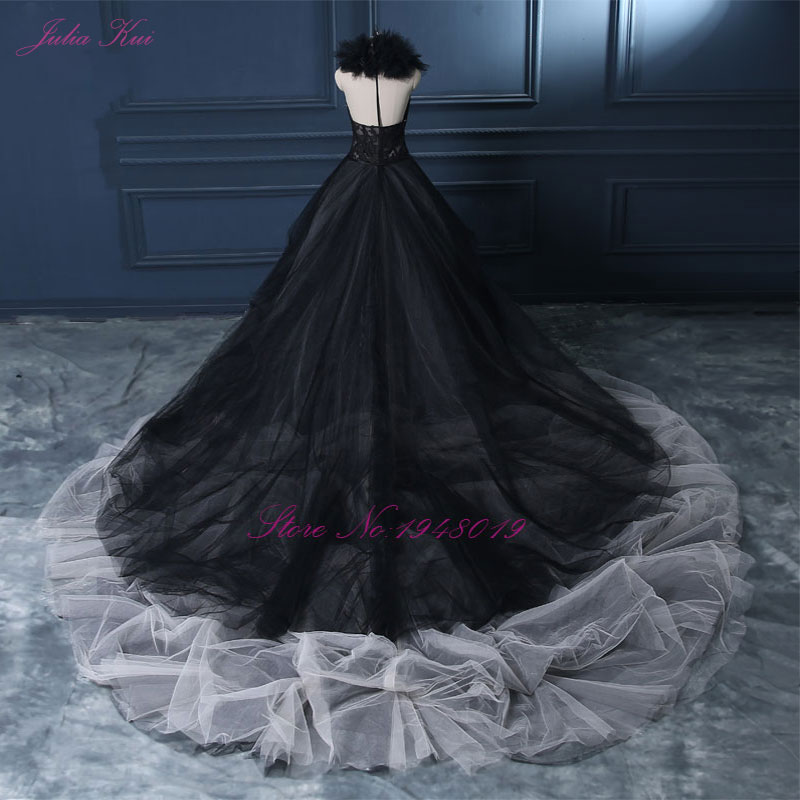 Image 5 - Julia Kui Halter A Line Black Wedding Dress 2019 Wedding Gown Count Train  Princess Vintage Bridal Dress-in Wedding Dresses from Weddings & Events