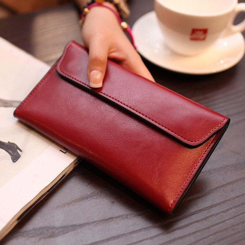 He New 2017 Women Wallet Cowhide Leather Slender Female Wallet Wallet Multiple Card Holder Wallet Clutch