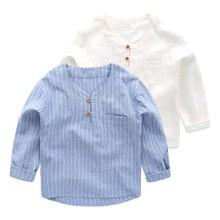 Модные рубашки для мальчиков детская одежда с длинными рукавами Топы в полоску для мальчиков, школьная детская одежда весенне-осенние Рубашки для подростков от 2 до 8 лет