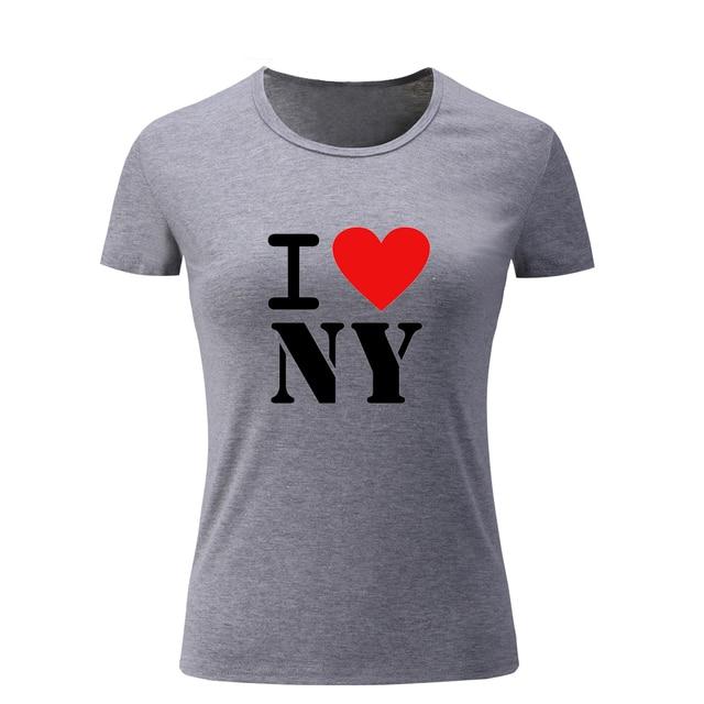 318da8de06dc4 أنا أحب نيويورك ny تصميم الصيف كم قصير مضحك ر قميص المرأة قمم عينة نمط  القمصان