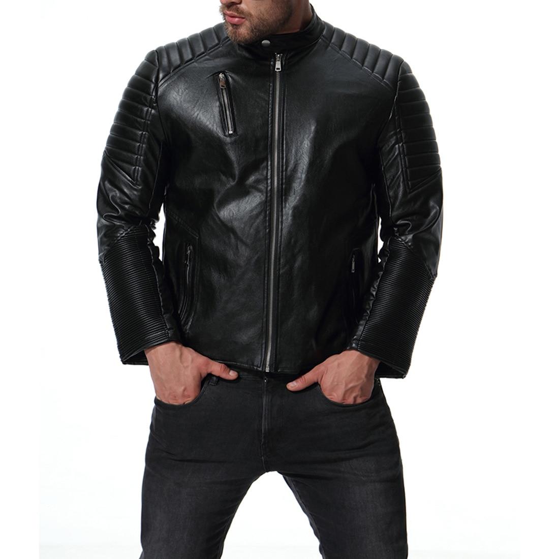 Cuero Multi Hombres Marca Cremallera S Hombre xxl Masculinas 2018 Jaqueta Motocicleta Negro Chaqueta AntqYx88