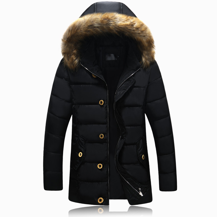 2017 winter new casual long winter jacket men fur collar. Black Bedroom Furniture Sets. Home Design Ideas