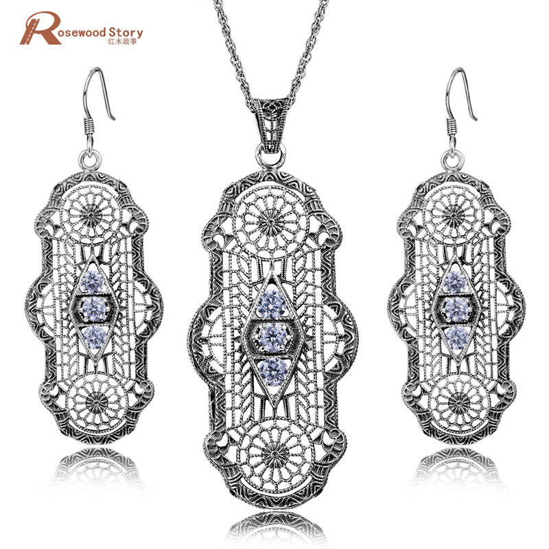 Distinctive Hollow Out Vintage Genuine Handmade 925 Sterling Silver Jewelry Set White Zirconia Earrings Pendant Wedding Set недорго, оригинальная цена
